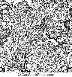 pattern., seamless, aziaat, achtergrond, floral, retro