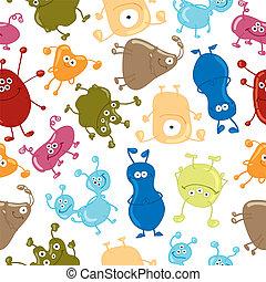 pattern., seamless, bacteria., wektor, tło, medycyna
