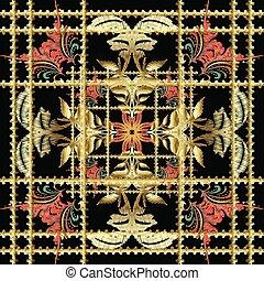 pattern., seamless, bordado, listrado, barroco, 3d