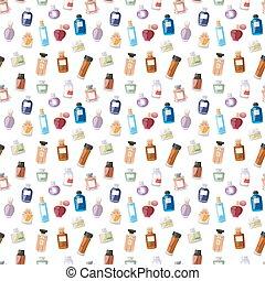 pattern., seamless, botella, perfume