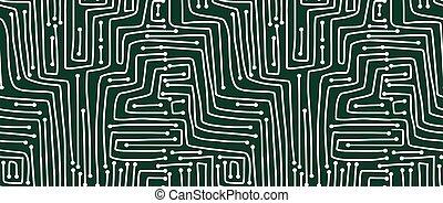 pattern., seamless, circuito, board., computador
