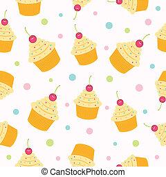 pattern., seamless, cupcake