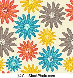 pattern., seamless, floral, fleurs, texture., daisy.