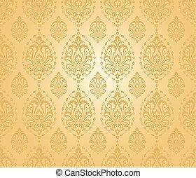 pattern., seamless, guld