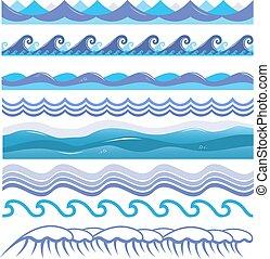 pattern., seamless, illustratie, vrijstaand, splashes., vector, oceaan, zee, brandingen, golven