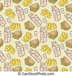 pattern seamless kids with junk food doodle element. fast food seamless background in doodle style