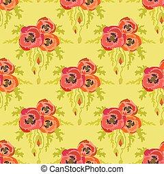 pattern., seamless, main, arrière-plan., vert, coquelicots, dessiné, ligne