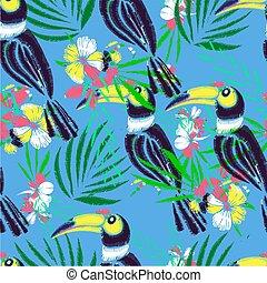 pattern., seamless, main, exotique, vecteur, fond, dessiné