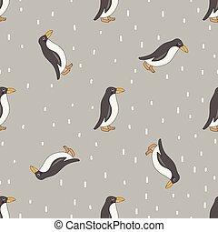 pattern., seamless, manchots