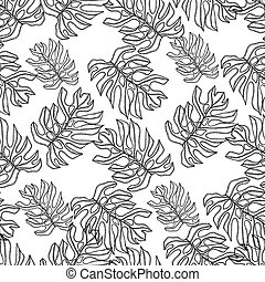 pattern., seamless, mano, tropical, vector, plano de fondo, dibujado