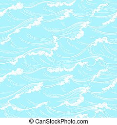 pattern., seamless, mer, vagues