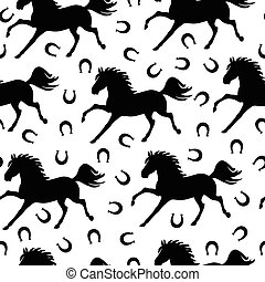 Pattern seamless of galloping horses and horseshoes