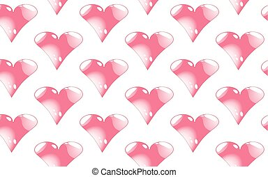 Pattern seamless of pink, shiny hearts with highlights to the day of St. Valentine on a white background. Vector illustration.