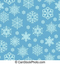 Pattern seamless of snowflakes on blue background