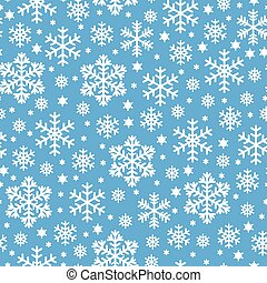Pattern seamless of white snowflakes on blue background