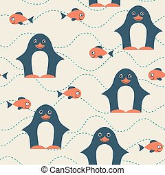 pattern., seamless, penguin