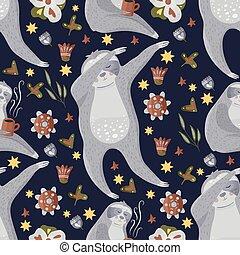 pattern., seamless, perezoso, vector