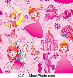 pattern., seamless, princesse