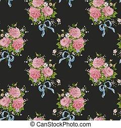 pattern., seamless, róże, czarne tło, kwiatowy