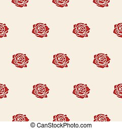 pattern., seamless, rose, vettore, beige, multa, rosso