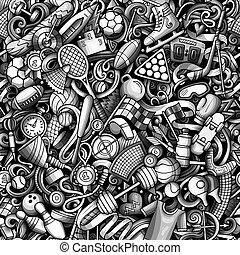 pattern., seamless, sport, húzott, doodles, kéz