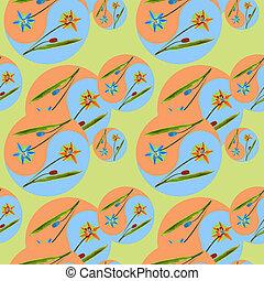 pattern., seamless, style., oosters, mandala, tekening