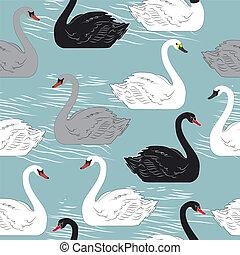 pattern., seamless, swans., vecteur, gabarit, design.
