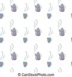 Pattern seamless teapot. Kettle with steam. Vector hand drawn doodle background. Can use for textile, package, wallpaper