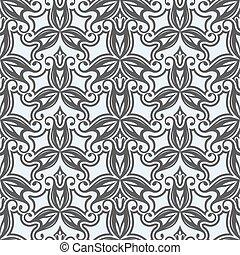 pattern., seamless, vecteur, noir, floral, blanc