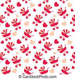 pattern., seamless, vector, rijtuigen, achtergrond, baby
