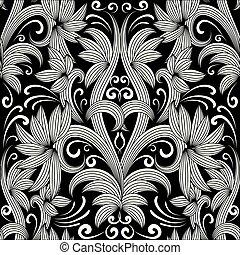 pattern., seamless, vektor, black háttér, virágos, fehér