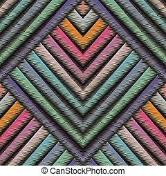 pattern., seamless, vetorial, abstrac, bordado, listrado, geomã©´ricas, 3d