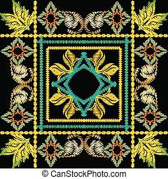 pattern., seamless, vetorial, bordado, barroco, geomã©´ricas, 3d