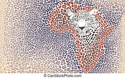 Pattern seampless leopard fur and face with map of Africa