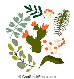 Pattern set of a lot of different green tropical exotic leaves, plants with long branches and flowers on white background. Collection of completed and isolated vector illustrations. Wallpapers