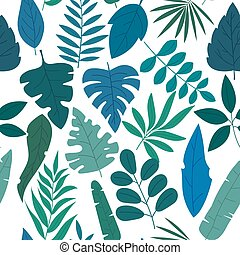 Pattern set of groups of different blue and green tropical exotic leaves, plants and fruits on white background. Collection of completed and isolated vector illustrations. Wallpapers