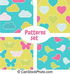 Pattern set with colorful clouds, hearts, butterflies, birds