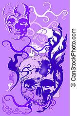 pattern skull design and line decoration brush