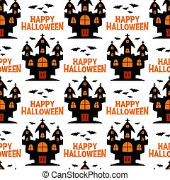 pattern., sorcière, halloween, isolé, voler, château, bats., illustration., stockage, seamless, arrière-plan., blanc, vecteur