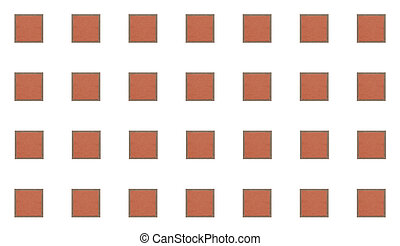 pattern square brick terracotta color with gray cement border on white background, set of blocks geometric symmetrical background
