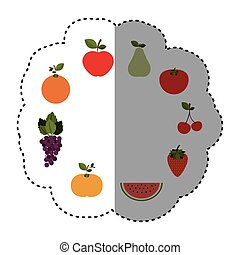 pattern sticker with fruits in circular shape