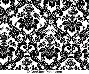pattern - Monochrome seamless damask pattern. Nice to use as...