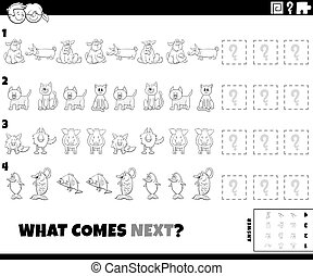 Black and White Cartoon Illustration of Completing the Pattern Educational Game for Children with Funny Animal Characters Coloring Book Page
