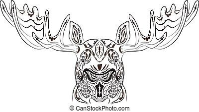 Pattern tattoo moose - Vector illustration pattern tattoo in...