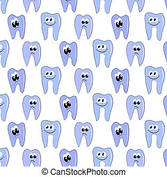pattern teeth with different emotions. vector illustration