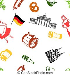 pattern., traditionnel, allemagne, seamless, national, symbols., allemand