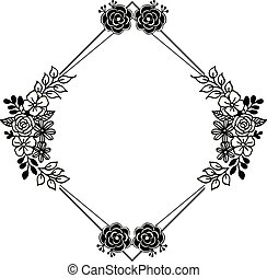 Pattern unique frame, various beautiful flowers, ornate of cards. Vector
