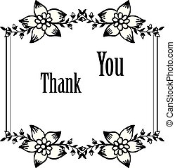 Pattern unique of card thank you, with vintage floral frame. Vector
