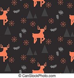 pattern., veado, seamless, escuro, madeiras, vermelho