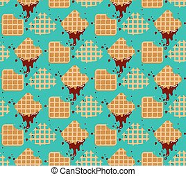 Pattern waffles - Waffles seamless vector pattern. Sweet and...